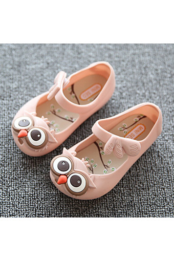I75 Hot New Summer Girl's Cute Owl Ankle Strap Hasp Kids Children Soft Jelly Flats Sandals Shoes Color Pink