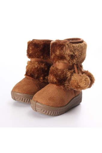 BEINGQ Baby Kid Girls Toddler Boots Warm Shoes Fur Boots Zipper Up (Intl)