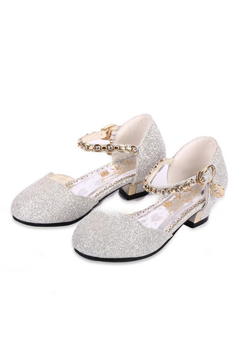 I24 Bling Low-heeled Girls Sandals Beautiful Princess Rhinestone Buckle Silver Child Shoes - Intl