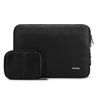 POFOKO PU Leather 15.6 Inch Laptop Sleeve Bag Case Cover for Apple New Macbook, Black (Intl)