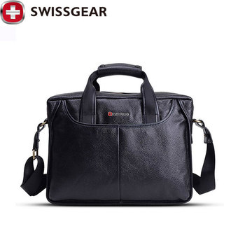 "New Brand SWISSGEAR Waterproof 14"" Laptop Portable cattlehide bag Men and Women Laptop Messenger Business Bag JDB60 - Intl"""