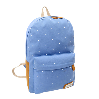 Canvas Backpack Satchel Rucksack Dot Printing Schoolbag Leisure Travel Shoulder Bag Light Blue - Intl