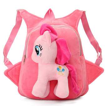 Kids Child Girls School Bag Cartoon Horse Plush Doll Bag Backpack Satchel Gift Pink