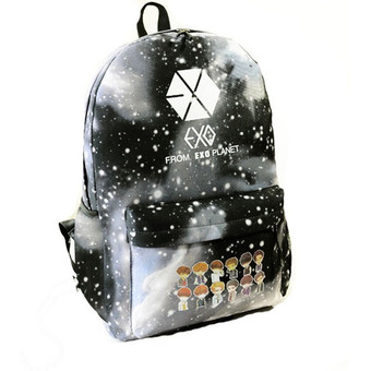 Black Unisex Galaxy Pattern Canvas Shoulder Bag Backpack SchoolBag Rucksack