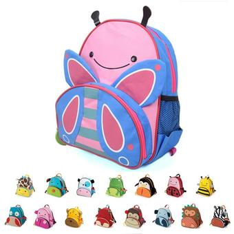HuoLaLAa Cute kid school bag cartoon animal canvas backpack zoo backpack Mini School Bags children Backpack mochila boy and girl 91092-bee 1