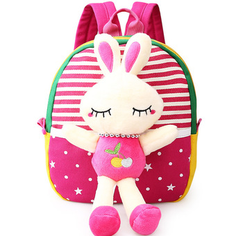 Children's school bags for boys and girls in kindergarten kids 1-3 years baby bag cute backpack Red Rabbit