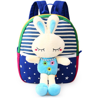 Children's school bags for boys and girls in kindergarten kids 1-3 years baby bag cute backpack Blue Rabbit