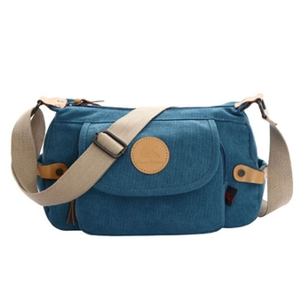 All-match Women's Girls Casual Canvas Shoulder Bag Cross-body Messenger Bag Handbag Travel Bag (Blue)