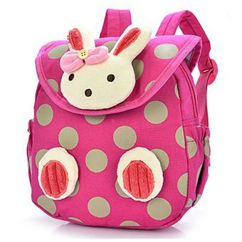 Baby Toddler Child Kid 3D Cartoon Backpack Schoolbag Shoulder Bags Rose Red