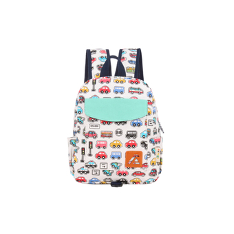 Kids' Vehicle Printing Kindergarten/School Canvas Backpack White