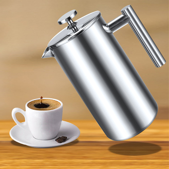 Cyber 1000ml Double Wall Stainless Steel Coffee Press with None Drip Spout and Filter Screens (Silver)