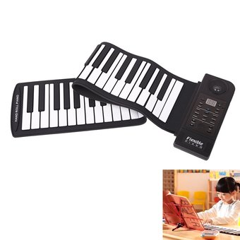 Portable 61 Keys Flexible Roll-Up Electronic Piano Soft Keyboard- Function:Recording/OOP/Playback, Single-finger Chord and Multi-finger Chord, Demo Songs Play