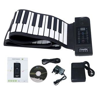Welink Portable 88 Keys Roll up Electronic Piano Keyboard Silicone Flexible Roll up Electronic Keyboard Piano with Loud Speaker and Foot Pedal (Black)