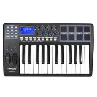 PANDA25 25-Key Ultra-portable USB MIDI Keyboard 8 Drum Pads Controller with USB Cable - Intl
