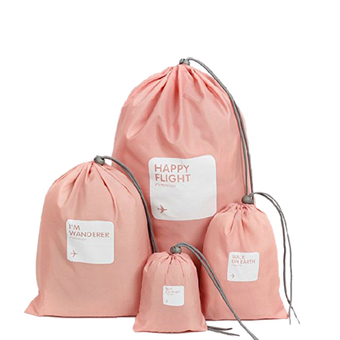 4in1 Travel Luggage Storage Organizer Packing Bags Drawstring Pouch Waterproof Pink