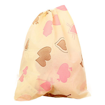 Fashion Printing Shoes Bag Portable Travel Storage Pouch Drawstring Dustproof Beige