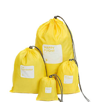 4in1 Travel Luggage Storage Organizer Packing Bags Drawstring Pouch Waterproof Yellow
