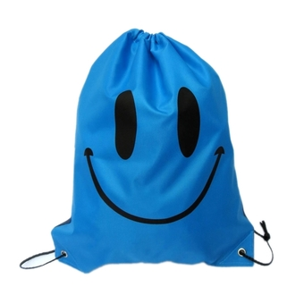 Swimming Drawstring Beach Bag Sport Gym Waterproof Backpack Duffle Smile Blue
