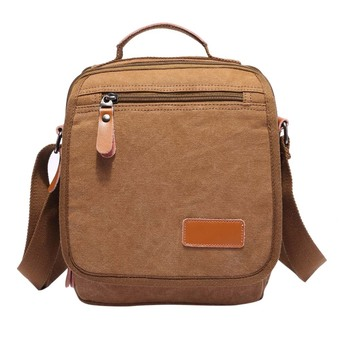 Men's Vintage Canvas Shoulder Bag Handbag Outdoor Travel Hiking Bag (Black)