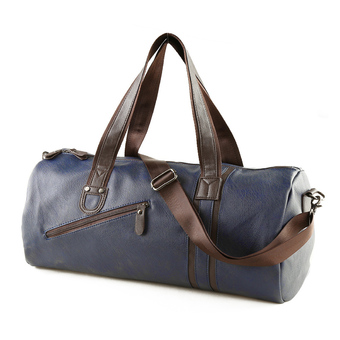 360DSC Mens Large Capacity PU Leather Handbag Tote Duffel Bag Weekender Travel Bag Gym Sports Bag with Crossbody Strap - Dark Blue
