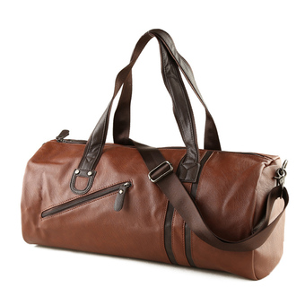 360DSC Mens Large Capacity PU Leather Handbag Tote Duffel Bag Weekender Travel Bag Gym Sports Bag with Crossbody Strap - Dark Brown