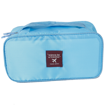 Travel Bra Underwear Pouch Luggage Organizer Hand Tote Cosmetic Bag Diaper Nappy Case Sky Blue