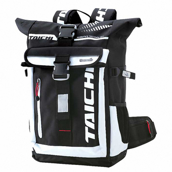 TAICHI RSB274 Weatherproof Backpack with Safety Alert EL Light forMotorcycle Black with White color - Intl