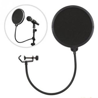 Gion- สตูดิโอไมโครโฟน Studio Microphones Mic Pop Filter Mask Shield Protection - Black(Black)