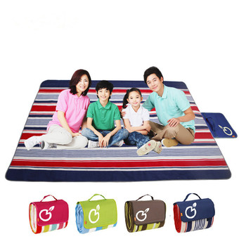 Delicate Portable Waterproof Outdoor Picnic Mat Beach Camping Baby Climbing Plaid Blanket Family Camping Mat Red Strips - Intl
