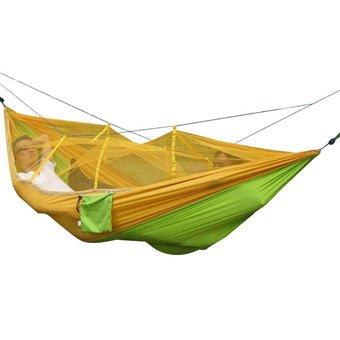 niceEshop Single-person Hammock Hanging Bed Portable High Strength Fabric Hammock With Mosquito Net For Outdoor Camping Travel,Yellow+Green