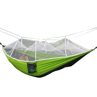 niceEshop Single-person Hammock Hanging Bed Portable High Strength Fabric Hammock With Mosquito Net For Outdoor Camping Travel,Green+Dark Green