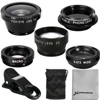 XCSource 5in1 FishEye Wide Angle Macro CPL 2.0X Tele Lens Universal For iPhone 5S 6