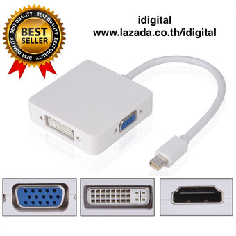 Thunderbolt Mini Display Port To HDMI / VGA / DVI 3 in 1 สำหรับ MacBook/Pro/Air/iMac และ Microsoft Surface