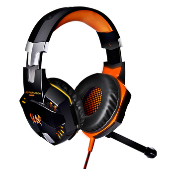 niceEshop EACH G2000 Professional PC Laptop Over-ear Stereo Gaming Headphone Game Headset with Microphone LED Light Display (Black Orange)