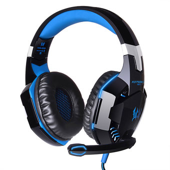 niceEshop EACH G2000 Professional PC Laptop Over-ear Stereo Gaming Headphone Game Headset with Microphone LED Light Display (Black Blue)