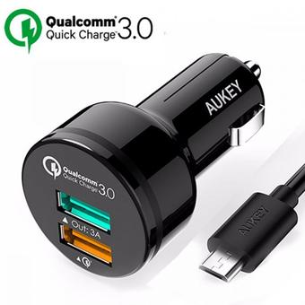 Aukey Quick Charge 3.0 ที่ชาร์จมือถือแท็บเล็ตในรถ 2-Ports USB Car Charger with Quick Charge 3.0