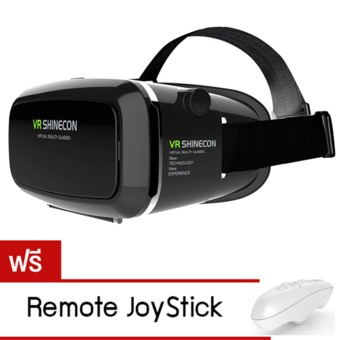 VR SHINECON Virtual Reality Mobile Phone 3D Glasses 3D Movies Games With Resin Lens (Black)แถมฟรี Remote Joystick