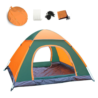 Waterproof Ventilated Automatic Outdoor Instant Camping Family Tent Orange&Green