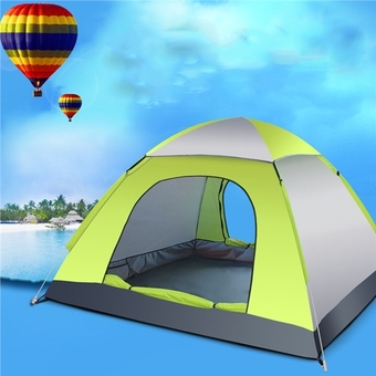 3-4 Person Automatic Folding Tents Family Tents Beach Tent Camping Double Speed to Open Rejection (Green Grey) - Intl