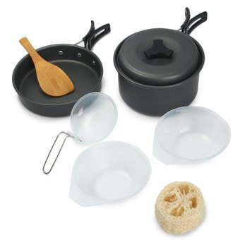 8pcs Outdoor Cooking Set Bowl Pot Pan (Gray) - Intl