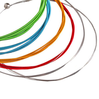 WiseBuy 6pcs Rainbow Colorful Color Acoustic Guitar Strings 1m