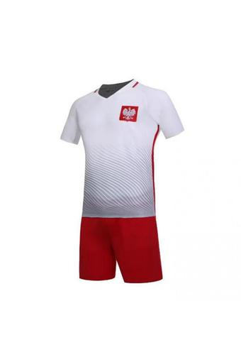 High quality 2016 European Cup Poland national Soccer Jersey Suit includes tops + Shorts (white+red).