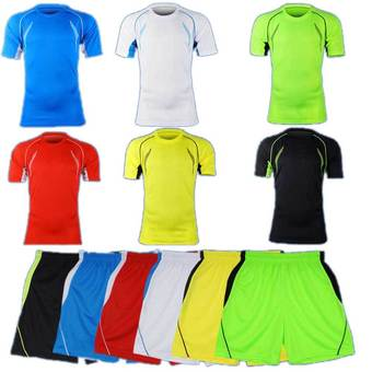 Men's Soccer Football Sport Jersey Short Pants & T-shirt Uniform White