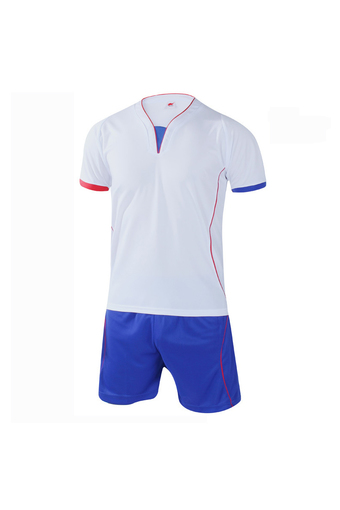 Fashion Men and Boy's Good Quality Team Football Training Sport Jersey Shirts and Shorts Set-White+Blue(902-2) - Intl