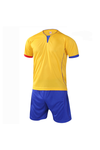 Fashion Men and Boy's Good Quality Team Football Training Sport Jersey Shirts and Shorts Set-Yellow+Blue(902-2) - Intl