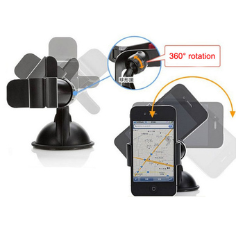 Moonar Universal 360° GPS Cellphone Holder For Car Mini Plastic Mobile Phone Support Silicone Sucker Type GPS Holder