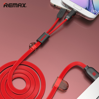 Remax 2 in 1 USB cable Sync Charger Cable For iPhone 5G 6G iPad ios 9 Micro USB for All Android Phones (Red)