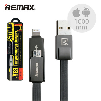 Remax สายชาร์จ Strive Data & Charge Cable 2 in 1 Lightning Micro For i5 / i6 / Andriod รุ่น RC-042t (สีดำ)