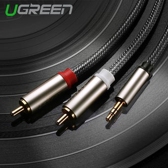 UGREEN 3.5mm to 2 RCA HIFI Audio Cable Nylon Braided Aux Cable Compatible with MP3/4 Cellphone iPod – 1m