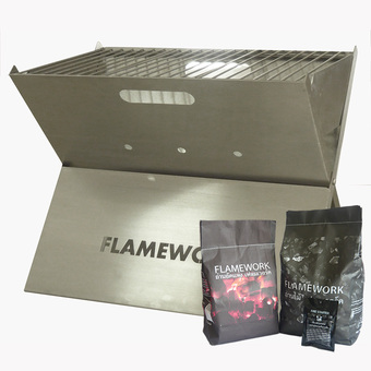 FLAMEWORK เตา BBQ Charcoal Grill แบบพกพา (STL #304) + Free BBQ Charcoal Set